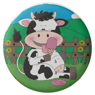 Cute Baby Cow Cartoon With His Favorite Treat Chocolate Covered Oreo