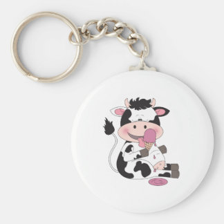 Cute Baby Cow Cartoon With His Favorite Treat Keychain