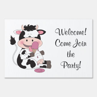 Cute Baby Cow Cartoon With His Favorite Treat Lawn Sign