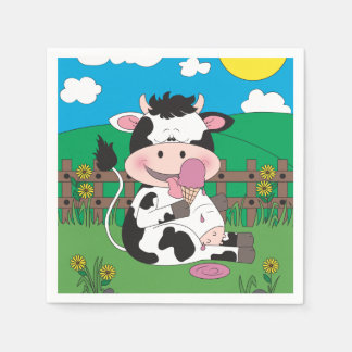 Cute Baby Cow Cartoon With His Favorite Treat Paper Napkin