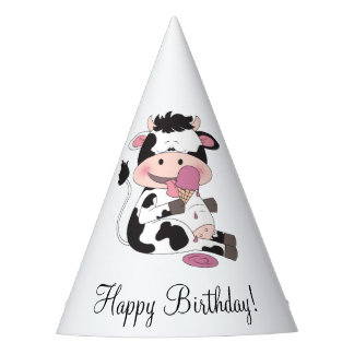Cute Baby Cow Cartoon With His Favorite Treat Party Hat