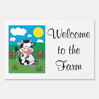 Cute Baby Cow Cartoon With His Favorite Treat Yard Sign