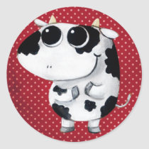 artsprojekt, cow, cute cow, kawaii cow, cute farm, cows, animal, kawaii, cute animal, farm animal, kid cow, cuteness, cute, illustration cow, baby animal, little animal, little cow, baby cow, Adesivo com design gráfico personalizado