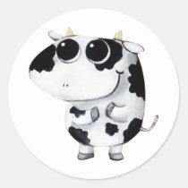 artsprojekt, cow, cute cow, kawaii cow, cute farm, cows, animal, kawaii, cute animal, farm animal, kid cow, cuteness, cute, illustration cow, baby animal, little animal, little cow, baby cow, Sticker with custom graphic design