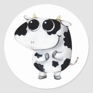 Cute Baby Cow Classic Round Sticker