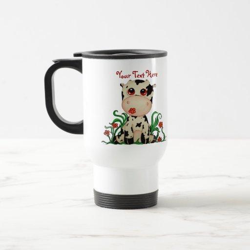 Cute Baby Cow Customizable Travel Mug Mugs