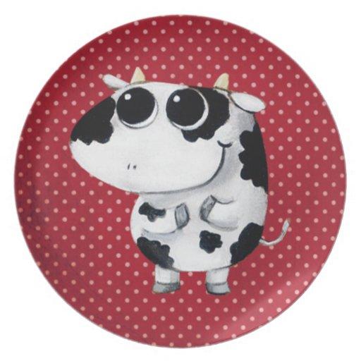 Cute Baby Cow Dinner Plate