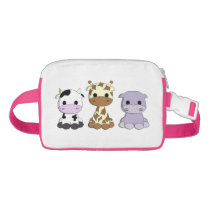 Cute baby cow giraffe hippo cartoon kids fanny pack