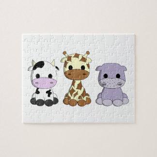 Cute baby cow giraffe hippo cartoon kids jigsaw puzzle