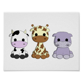 Cute baby cow giraffe hippo cartoon nursery poster