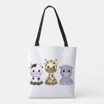 Cute baby cow giraffe hippo cartoon tote bag