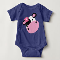 Cute Baby Cow Jersey Bodysuit