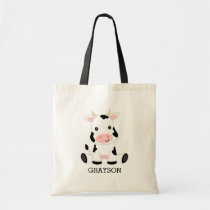 Cute Baby Cow Personalized Kids Tote Bag