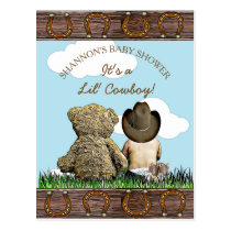 Cute Baby Cowboy and Teddy Bear Baby Shower Invite