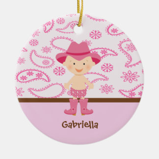 Cute Baby Cowgirl in Pink Ornament