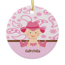 Cute Baby Cowgirl in Pink Sitting Ornament