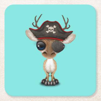 Cute Baby Deer Pirate Square Paper Coaster