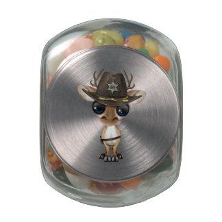 Cute Baby Deer Sheriff Glass Candy Jar