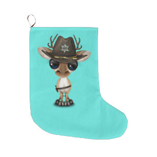 cute baby deer sheriff large christmas stocking