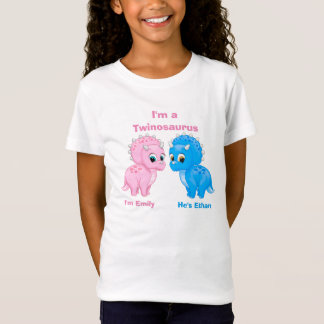 Cute Baby Dinosaur Fraternal Twins Personalized T-Shirt