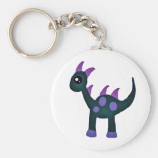 Cute baby dinosaur basic round button keychain