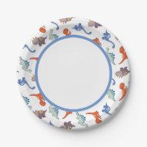 Cute Baby Dinosaur Pattern Print Paper Plate