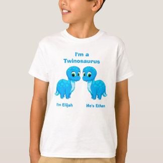 Cute Baby Dinosaur Twin Boys Personalized T-Shirt