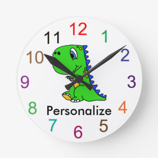 Cute baby dinosaur wall clock
