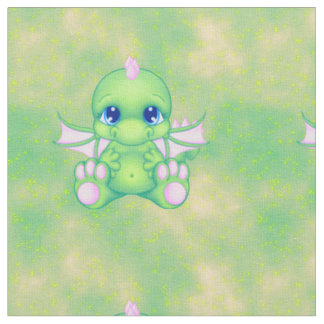 Cute Baby Dragon Green & Pink Fabric