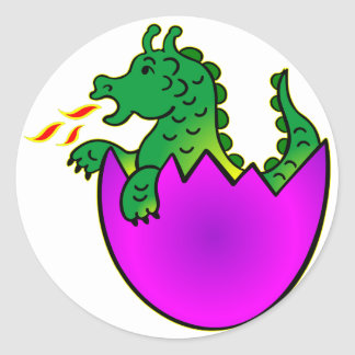 Cute Baby Dragon In Egg Classic Round Sticker