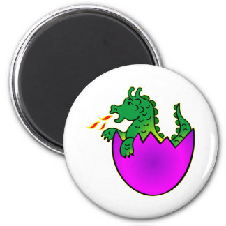 Cute Baby Dragon In Egg 2 Inch Round Magnet