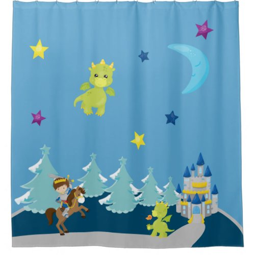 Cute Baby Dragons & Knight w/ Castle Nursery Theme Shower Curtain