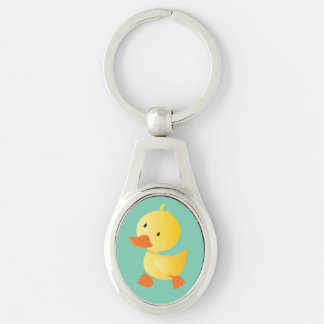 Cute Baby Duck Silver-Colored Oval Metal Keychain