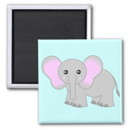 Cute Baby Elephant 2 Inch Square Magnet