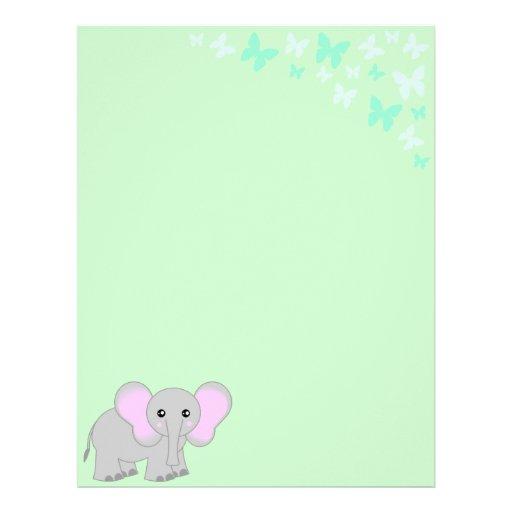 Cute Baby Elephant And Butterflies Letterhead