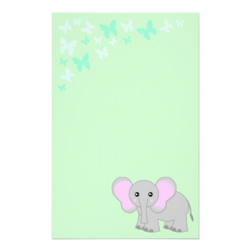 Cute Baby Elephant And Butterflies Stationery