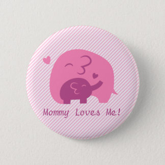 Cute Baby Elephant and Mommy Parents Love Pinback Button