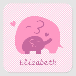 Cute Baby Elephant and Mommy Parents Love Square Sticker