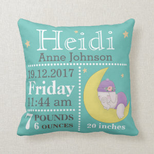 Cute Baby Elephant birth announcement stats Teal Throw Pillow