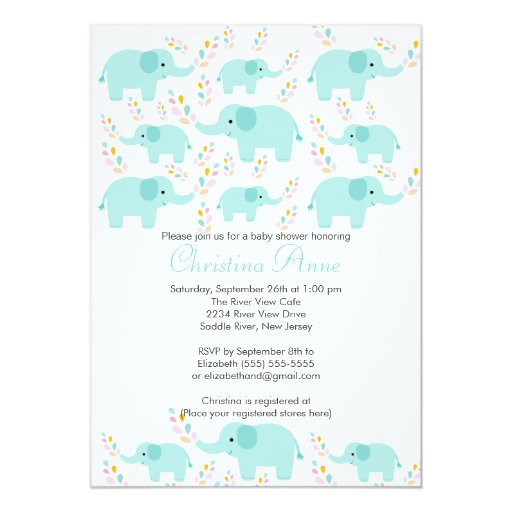 "Cute Baby Elephant Boy Baby Shower Invitations 5"" X 7"" Invitation Card"
