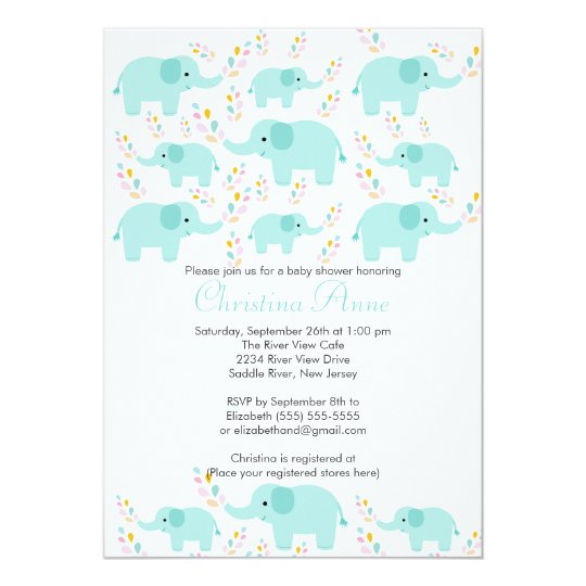 Cute Baby Elephant Boy Baby Shower Invitations