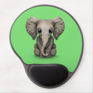 Cute Baby Elephant Calf Sitting Down, Green Gel Mouse Pad