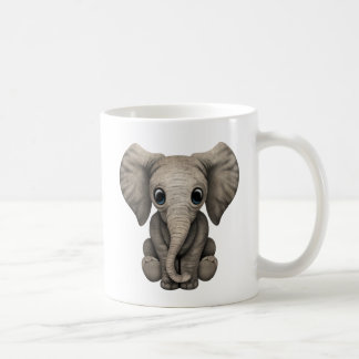 Cute Baby Elephant Calf Sitting Down Mugs