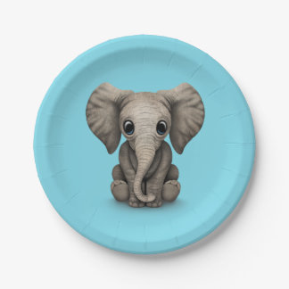 Cute Baby Elephant Calf Sitting Down Paper Plate