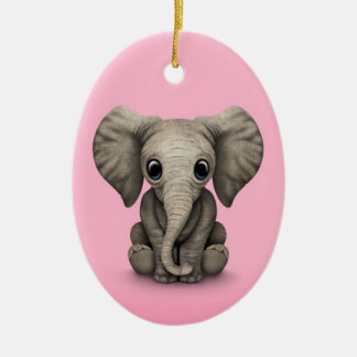 Cute Baby Elephant Calf Sitting Down, Pink Ceramic Ornament