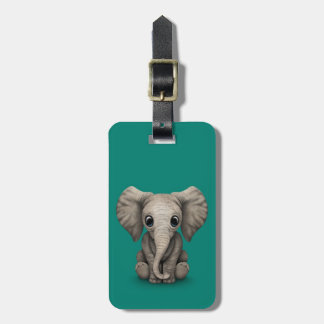 Cute Baby Elephant Calf Sitting Down, Teal Blue Tags For Luggage