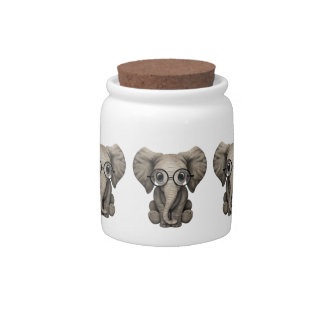 Cute Baby Elephant Calf with Reading Glasses Candy Dishes
