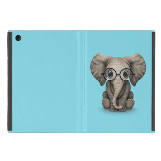 Cute Baby Elephant Calf with Reading Glasses Case For iPad Mini