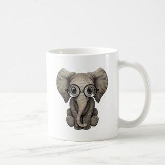 Cute Baby Elephant Calf with Reading Glasses Classic White Coffee Mug