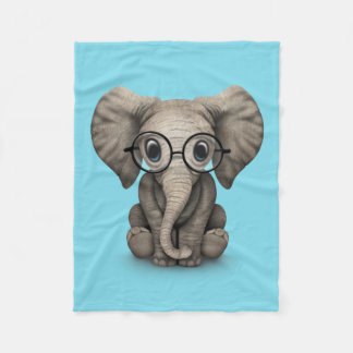 Cute Baby Elephant Calf with Reading Glasses Fleece Blanket